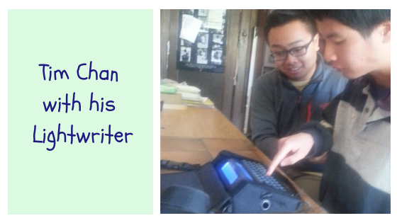 Tim Chan with his Lightwriter electronic communication device